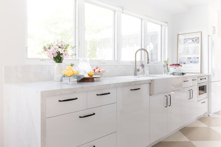 croma design - kitchens - diamond pattern floor, farmhouse sink