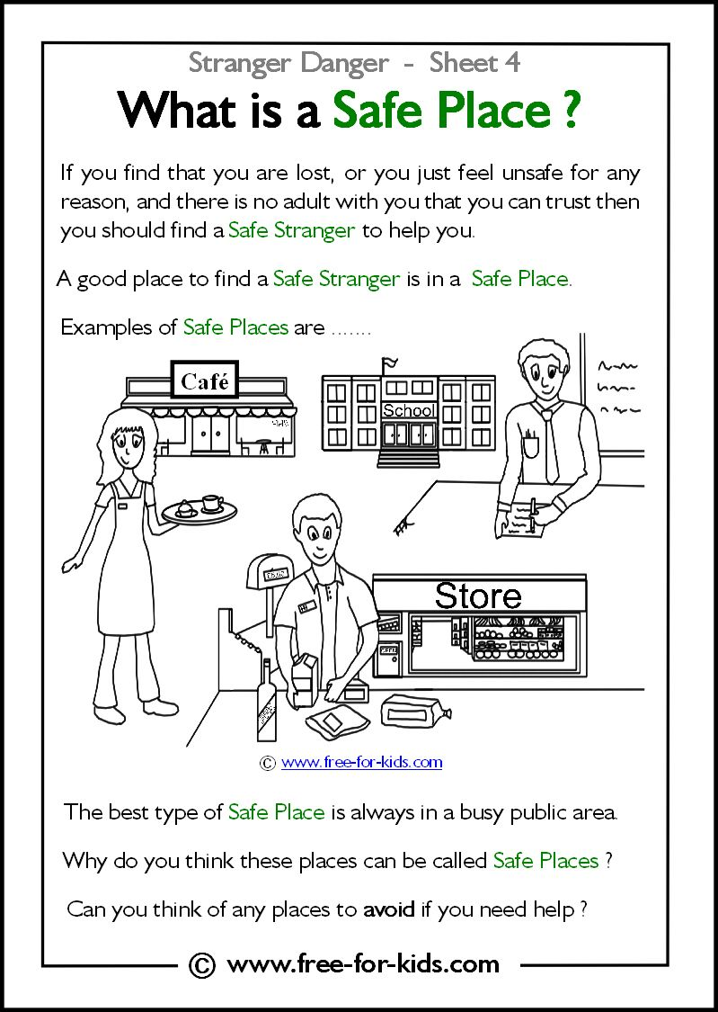 worksheet Safe Touching For Children Worksheets what is a safe place fitc pinterest stranger danger safety place