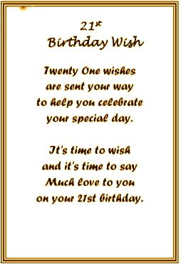 Looking for 21st Birthday Poems? Look no further...we have ...