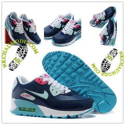 hot sale online 177b1 f5901 Montante  Nike Chaussure Sport Air Max 90 Femme Bleu MarineBlanc