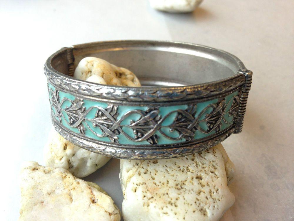 LTDEUTSCHES Armband Kreuzbandmuster,Jugendstil? Vintage blau Email Silberfarben