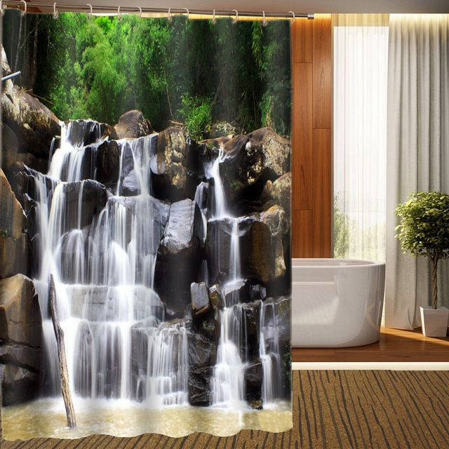 Stone Waterfall Shower Curtain 3d Photo Shower Printing