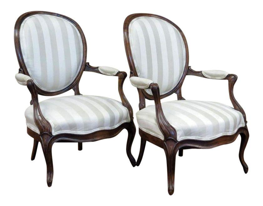 Pair Of Antique French Louis Philippe Fauteuils With Fabric Ebay In 2020 Antiques Style Armchair Used Furniture For Sale