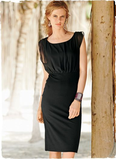 b6c629fd85b Black but far from basic, our sensuous jersey cocktail dress skims the body  in all the right places, with a sheer chiffon overlay bodice, cinched waist  seam ...