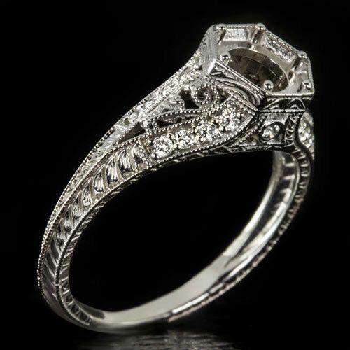 Vintage Diamond Engagment Ring Setting Semi-Mount Round Filigree 6mm Antique 14K White Gold 7462 by IvyandRoseVintage on Etsy https://www.etsy.com/listing/288139205/vintage-diamond-engagment-ring-setting