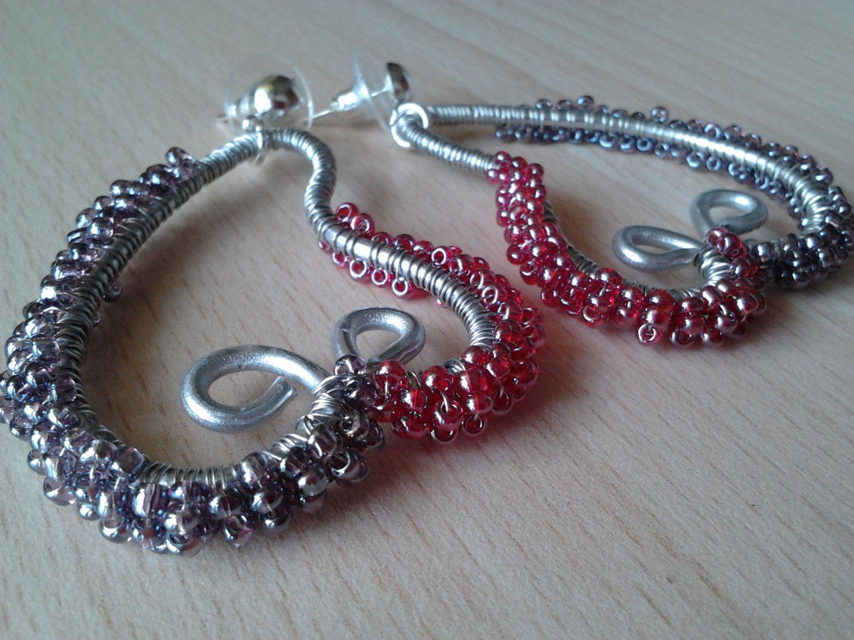Orecchini wire cuore e perline/regalo/wire earings/cuore wire rosso /orecchini filo metallico di Athiss su Etsy