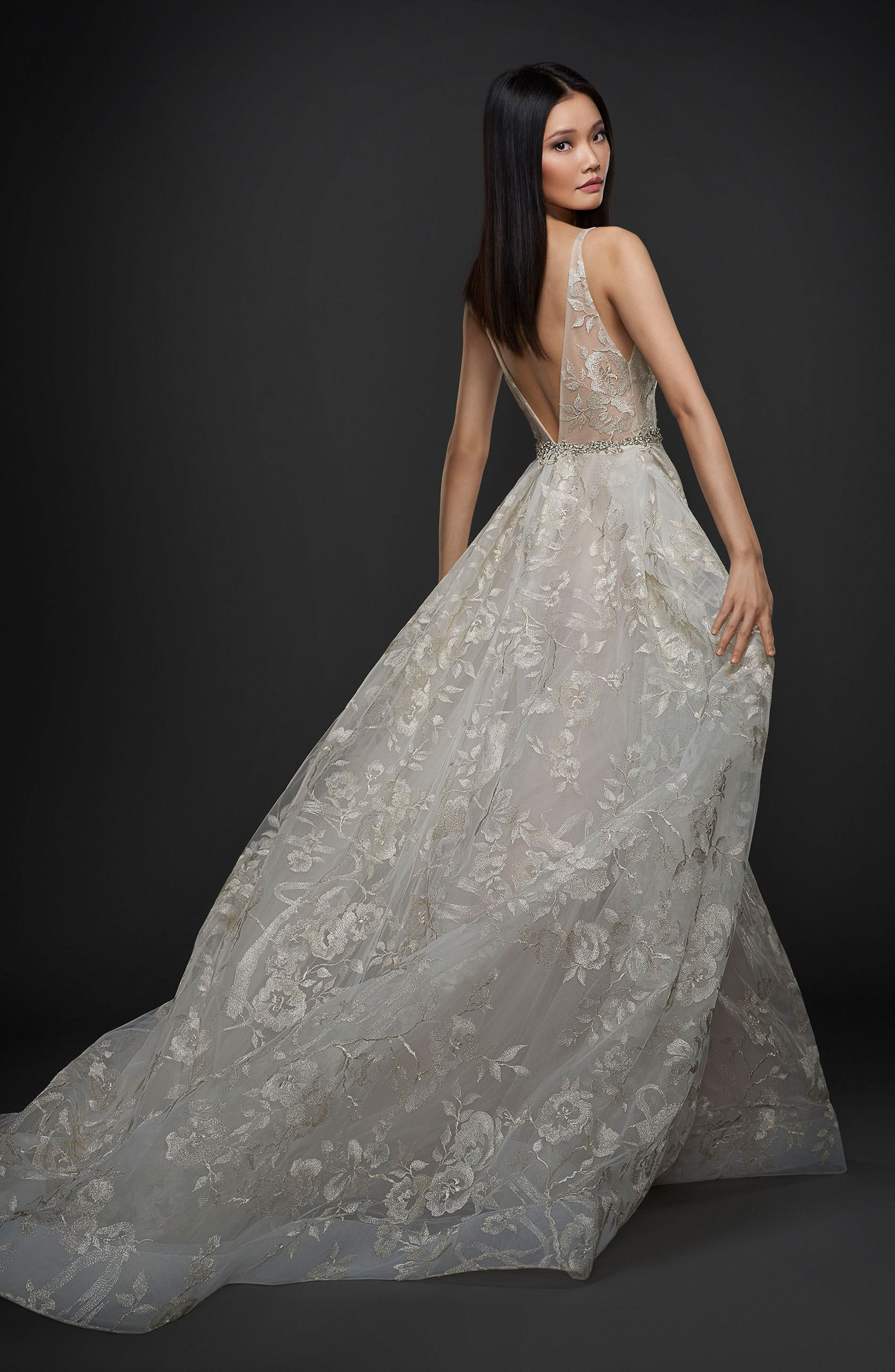 74e2877a Floral Embroidered Tulle & Chiffon Gown LAZARO at Nordstrom (affiliate link)