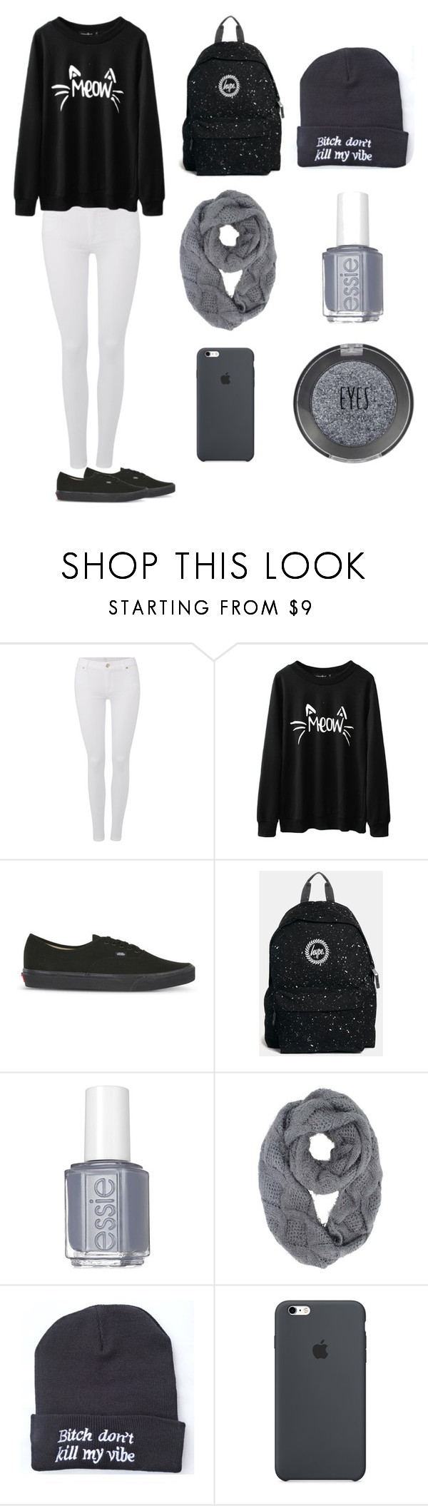 """Lazy days"" by apparentlynotyou on Polyvore featuring 7 For All Mankind, Vans, Hype, Essie and Topshop"