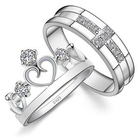 his hers matching couple sterling silver engagement rings bands set 8899 - Matching Wedding Rings For Him And Her