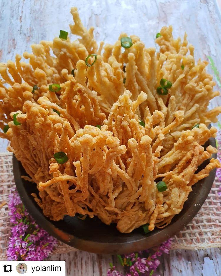 Masak Jamur Enoki : masak, jamur, enoki, Jamur, Enoki, Crispy, Masakan,, Resep, Makanan, Sehat
