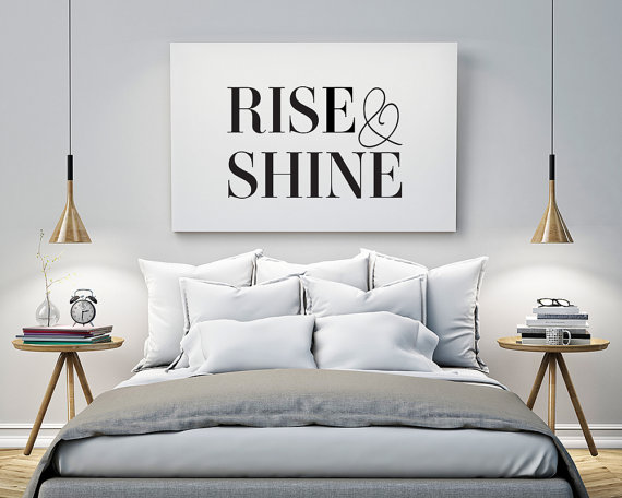Printable poster rise and shine typography print black white wall art poster print