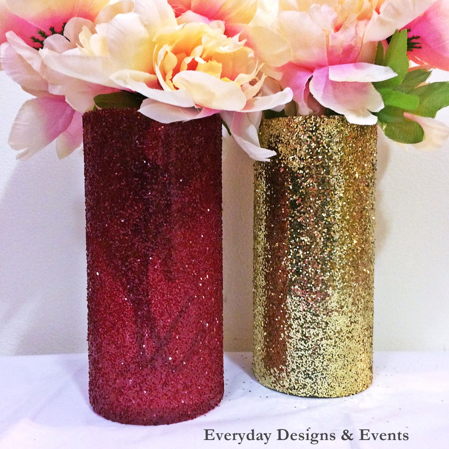 Gold Wedding Centerpieces: Maroon And Gold Vases, Wine Glass Vases, Red Wine Glitter
