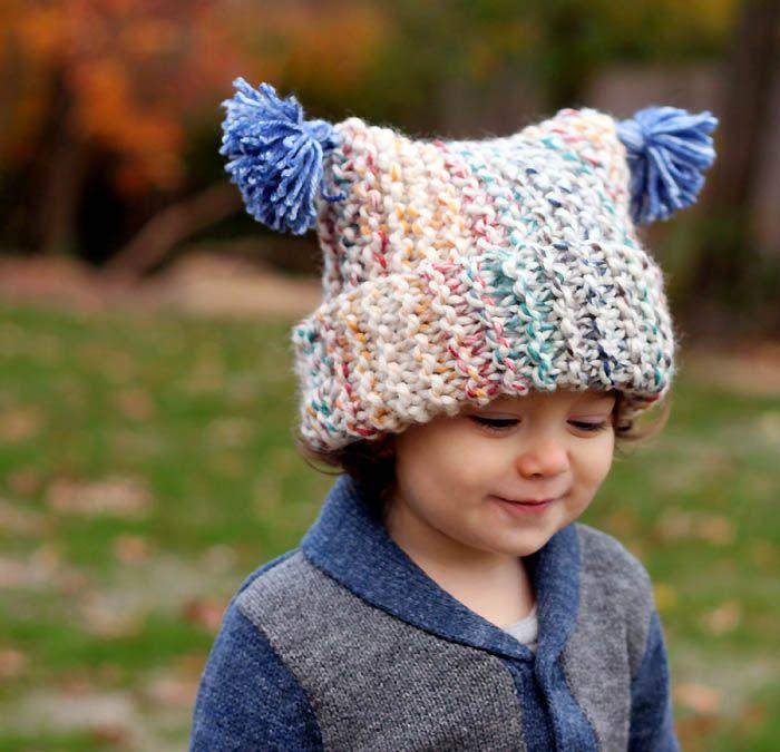 618c3513057 Flat Knit Garter Stitch Hat Knitting Pattern- Super Easy! (Gina Michele)