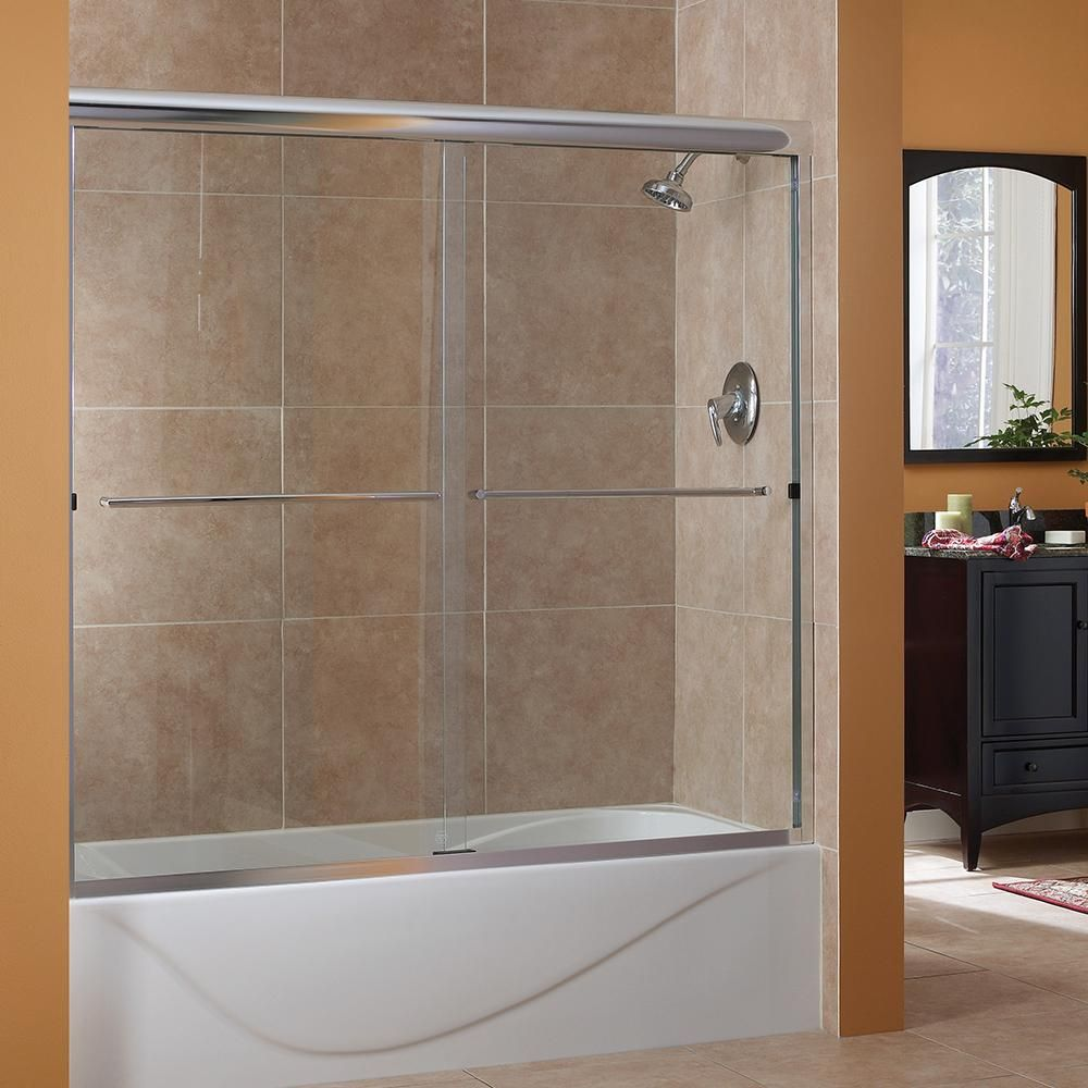 Foremost Cove 54 In To 58 In X 55 In Semi Framed Sliding Bypass Tub Shower Door In Silver With 1 4 In Clear Glass In 2020 Shower Doors Bathtub Shower Doors Tub Shower Doors