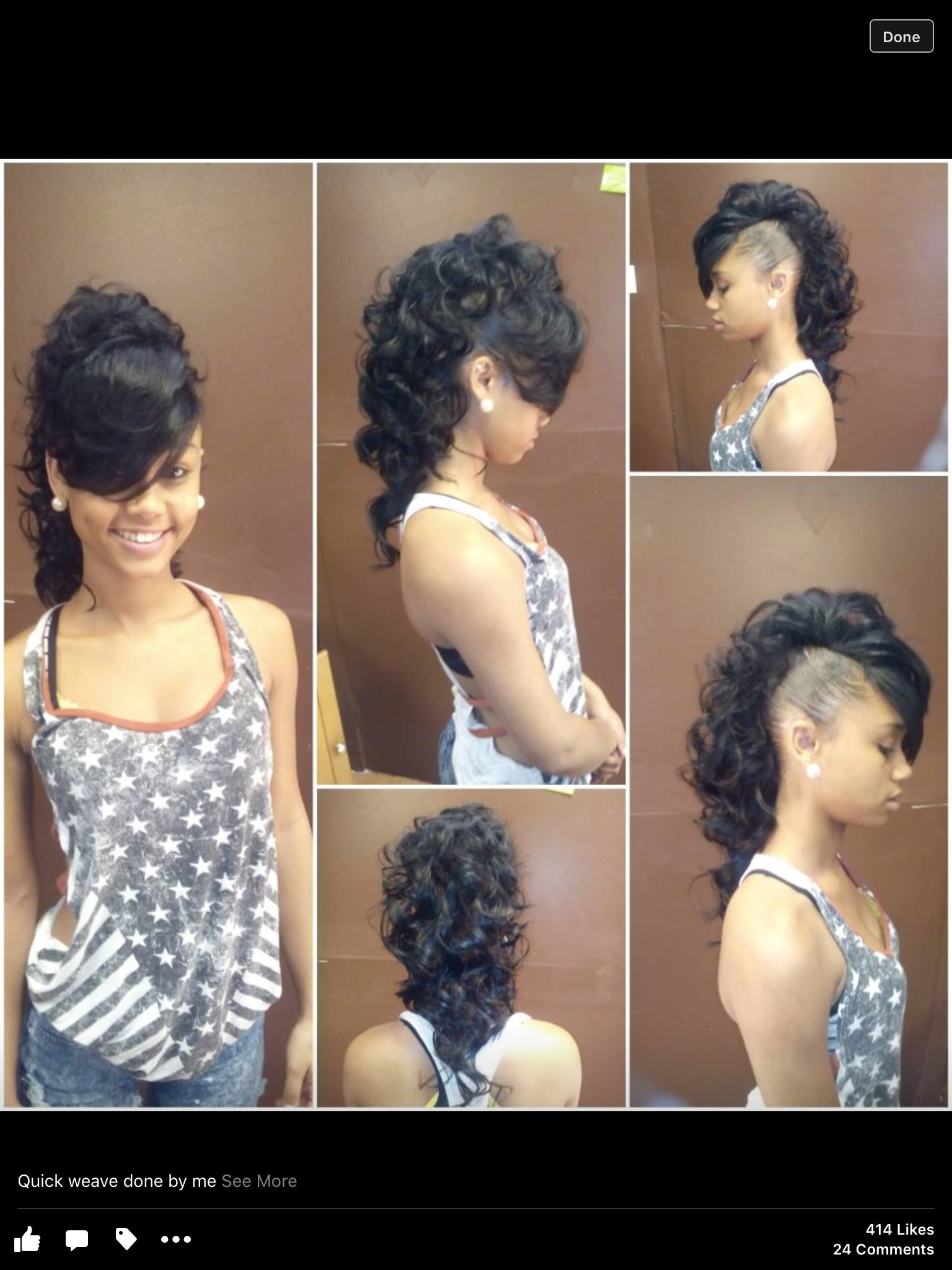 mohawk creative style weave | natural hair bangs | mohawk