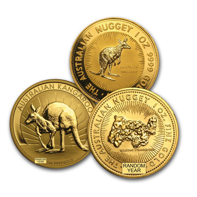 Australia 1 Oz Gold Kangaroo Nugget Bu Random Year Gold Bullion Coins 1 Oz Gold Coin Coins For Sale