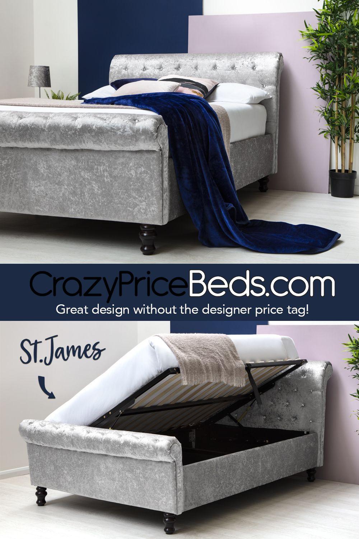 Best St James Silver Crushed Velvet Sleigh Ottoman Storage Bed 400 x 300