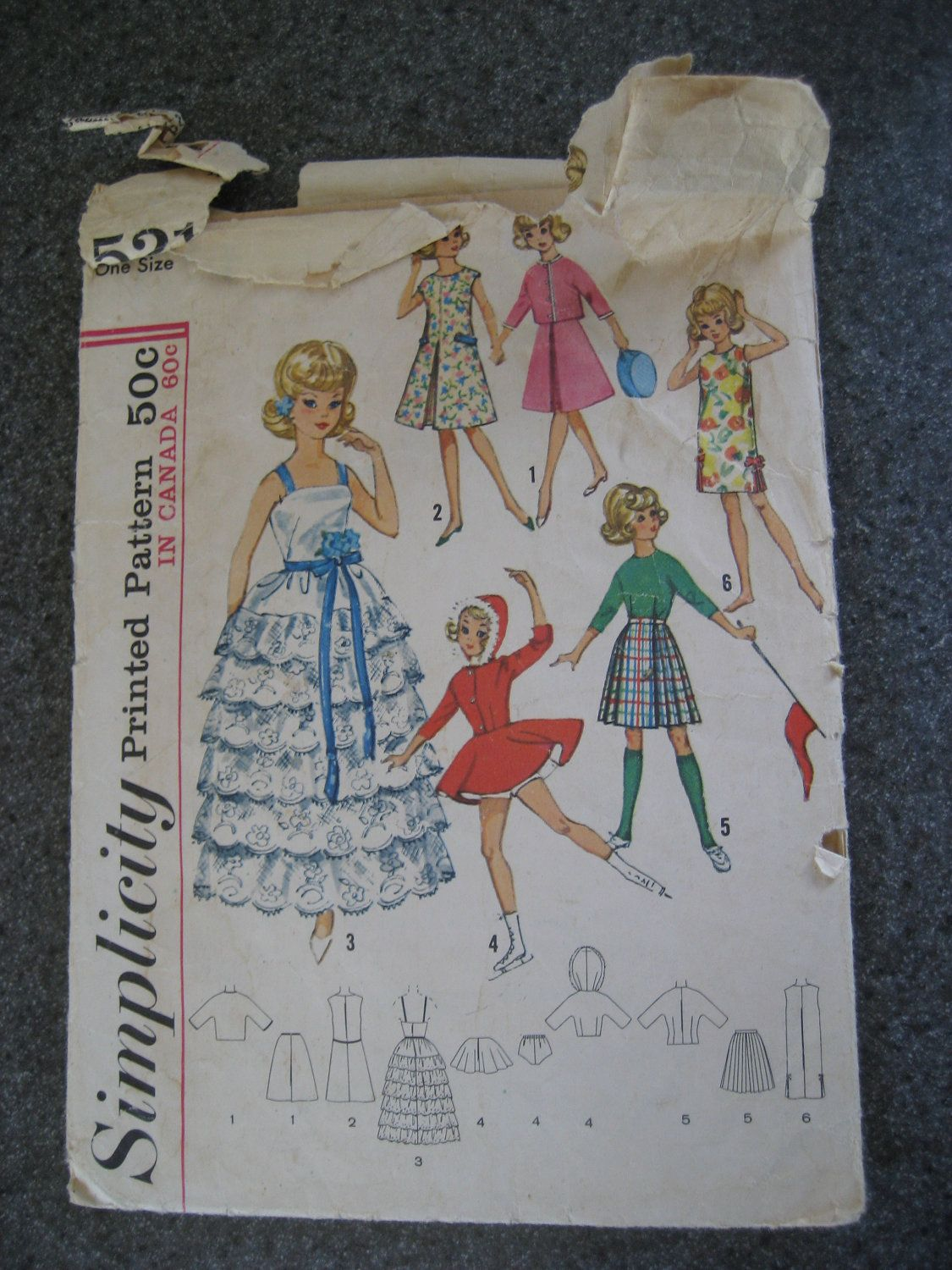 Vintage 1960s Simplicity 5214 Ideal Tammy Doll Wardrobe.     Made many doll clothes by hand from this pattern