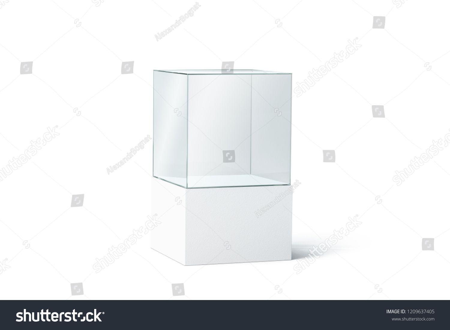 Download Blank White Glass Box Podium Mockup Isolated 3d Rendering Empty Transparent Showcase Mock Up Side View Clear Exhibition Cube Glass Boxes White Glass Glass