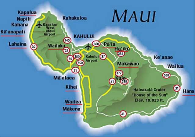Island of Maui Hawaii Map Tourist Guide Map of Maui Maui Road
