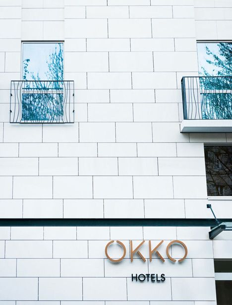 Okko Hotel Interior By Patrick Norguet With En Suites Behind Louvred Walls Hotel Facade Commercial Design Retail Exterior Signage