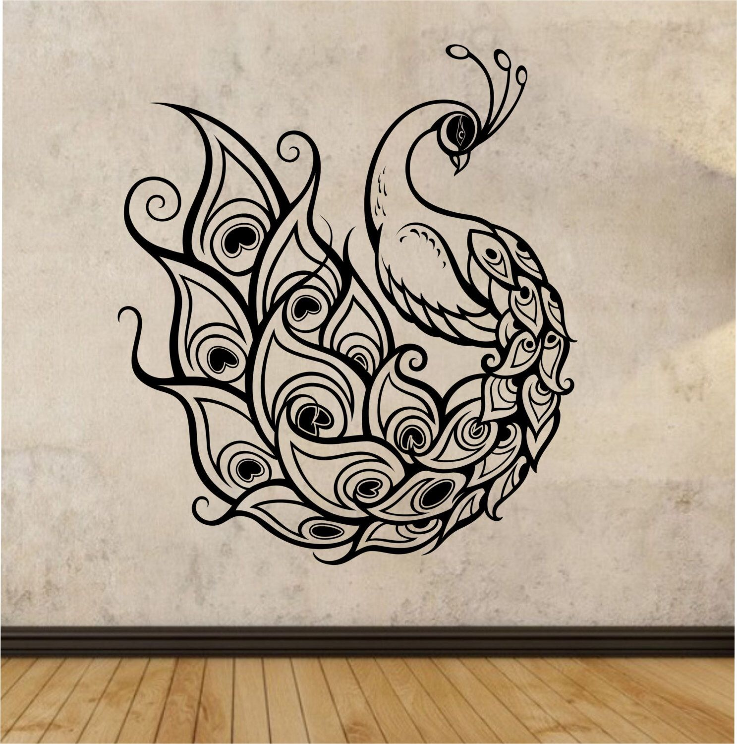 peacock wall decal sticker art decor bedroom design mural on wall stickers painting id=17074