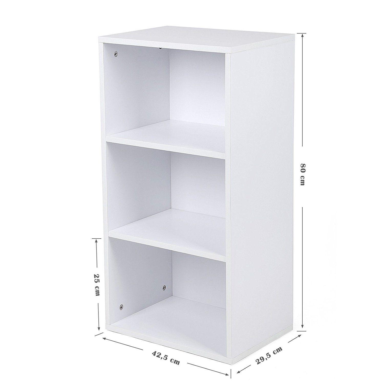 Songmics Estantería Librería Biblioteca De 3 Niveles 42 5 X 29 5 X 80 Cm Blanco Lbc103w Amazon Es Hogar Estanteria Archivadores Estante
