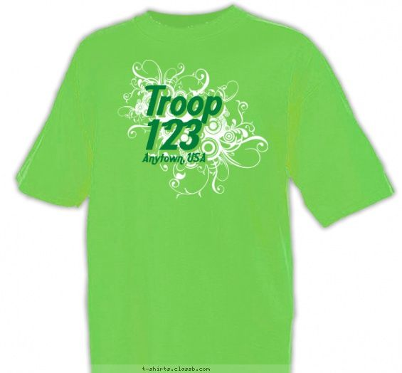 Heather Lime Green Calligraphy Troop Shirt Girl Scout Troop
