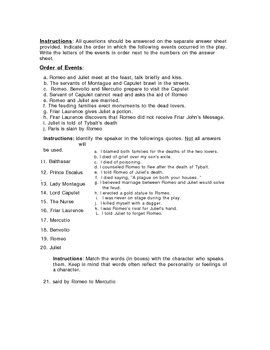 romeo and juliet questions and answers pdf