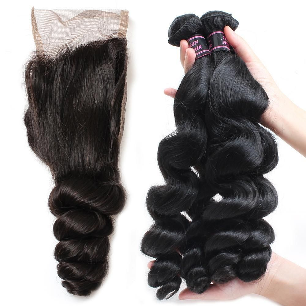 Indian loose wave 3 bundles with 4x4 lace closure 100