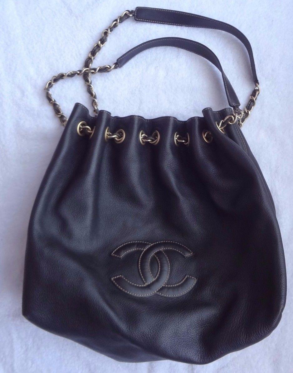 Vintage Chanel Dark Brown Leather Hobo Bucket Shoulder Bag With Golden Chain Ebay