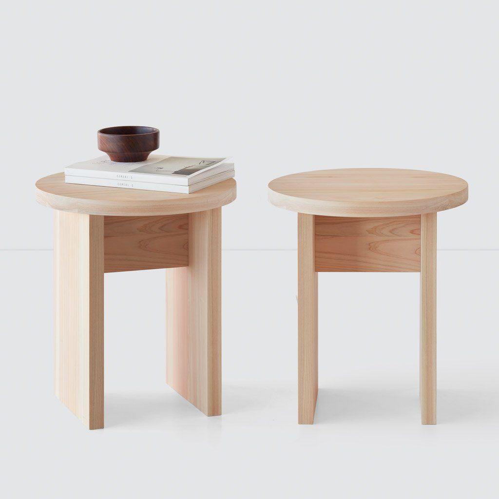 Hinoki Wood Side Table Round Round Wood Side Table Wood Accent Table Hinoki Wood