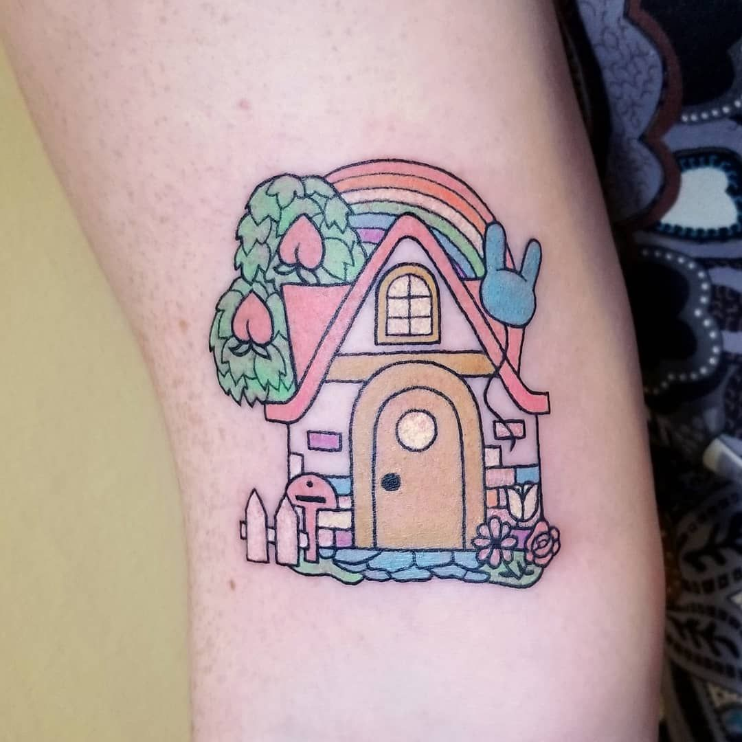 An Adorable Little Animal Crossing House The Design Is Based On An Enamel Pin Made By Moonbratstudio Nerd Tattoo Kawaii Tattoo Tattoos