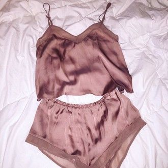 0ab7b89164fe pajamas pink silk rose gold top nude lingerie romper matching set underwear  silky tan shorts nude