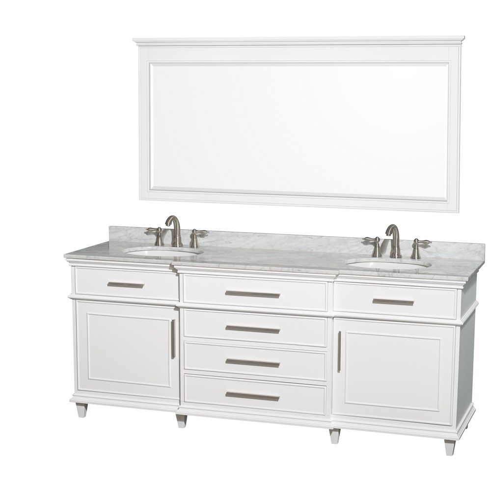 Windsor 80 Inch White Finish Double Sink Bathroom Vanity Marble
