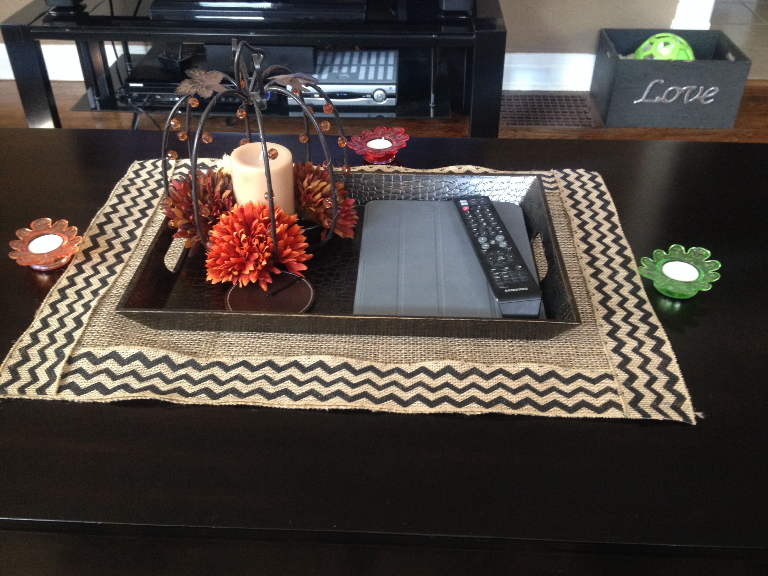 Burlap coffee table runner Use PUL fabric underneath To protect