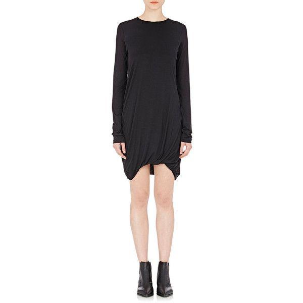 Acne Studios Emilia Dress ($290) via Polyvore featuring dresses, black, ruched jersey dress, jersey dress, kohl dresses, long sleeve ruched dress and long sleeve black dress