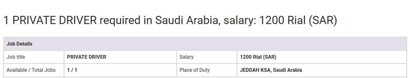 Private Driver Saudi Arabia Jobs Oct 9 2019 Overseas Jobs Newspaper Jobs Driver Job