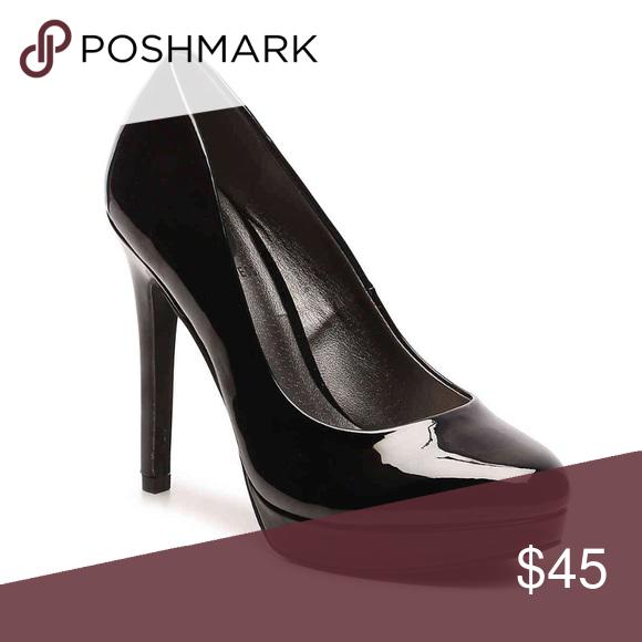 Black Patent Leather Platform Pump Heel