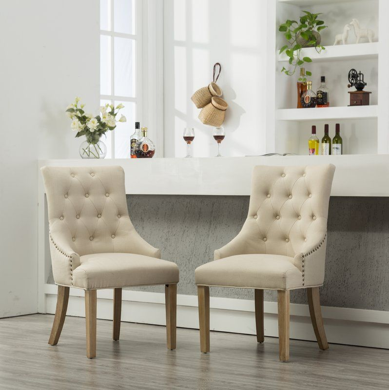 Miles City Button Tufted Wingback Hostess Upholstered Dining Chair Upholstered Dining Chairs Dining Chair Upholstery Dining Chairs