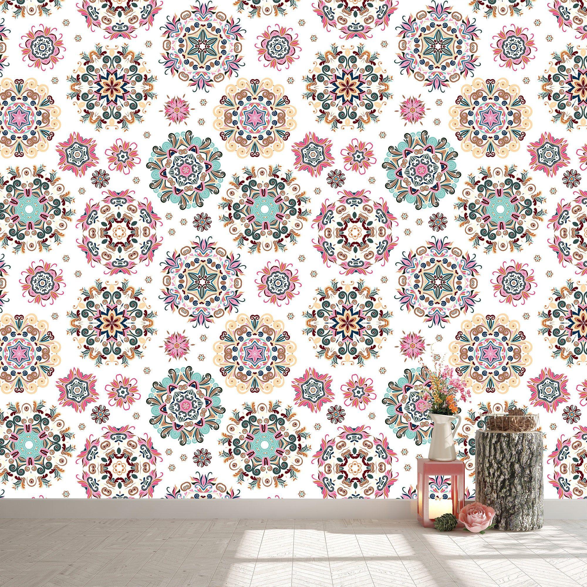 Mandala Removable Wallpaper Personalize Print Multicolour Etsy Removable Wallpaper Mandala Wallpaper Personalized Prints