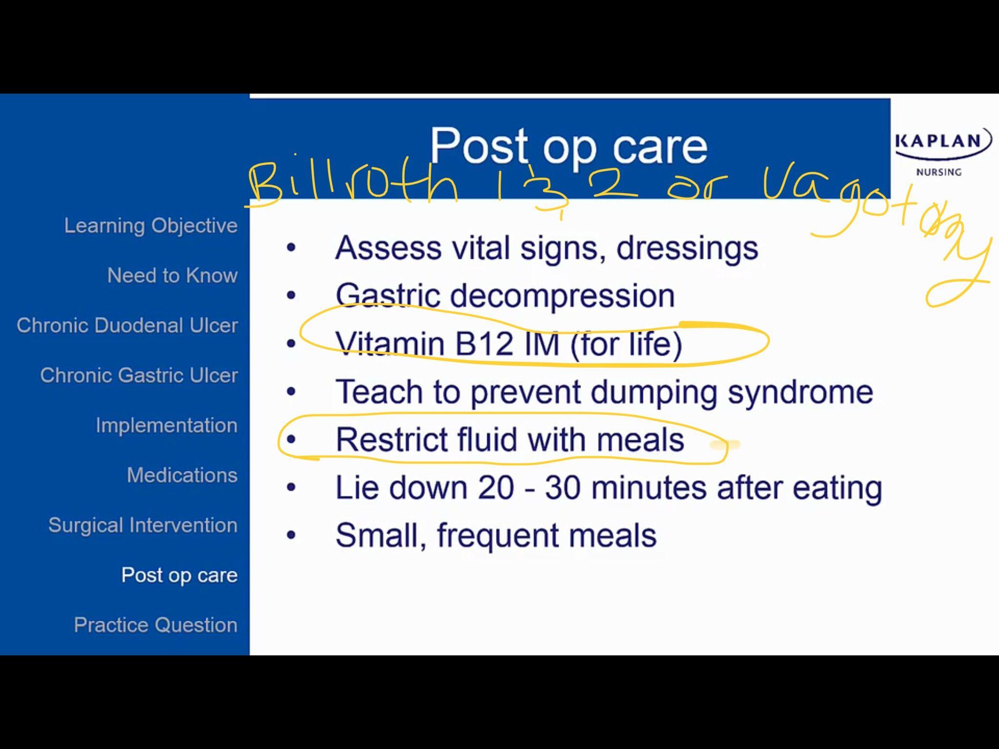 Billroth 1 2 Or Vagotomy Postoperative Care Teaching Teaching