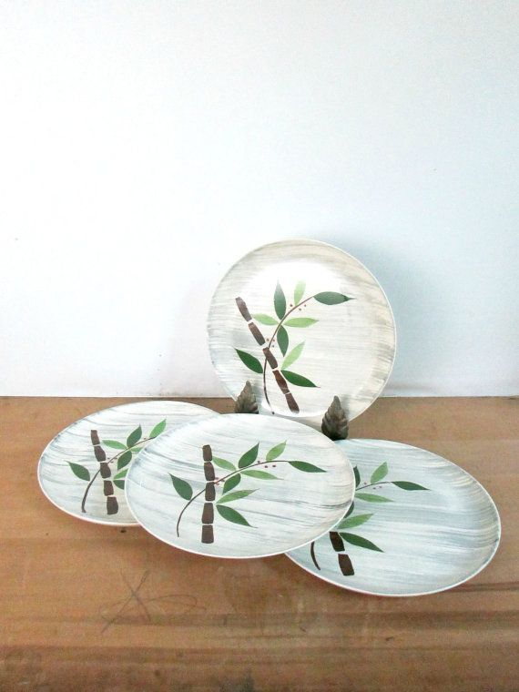 Vintage 1950s Dinner Plates Bamboo Design by looseendsvintage, $39.00