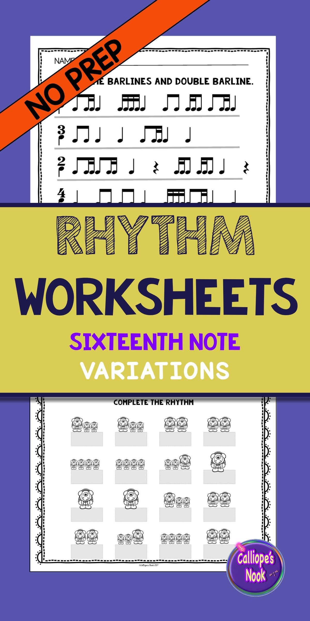 No Prep Rhythm Worksheets Sixteenth Note Variations Ti