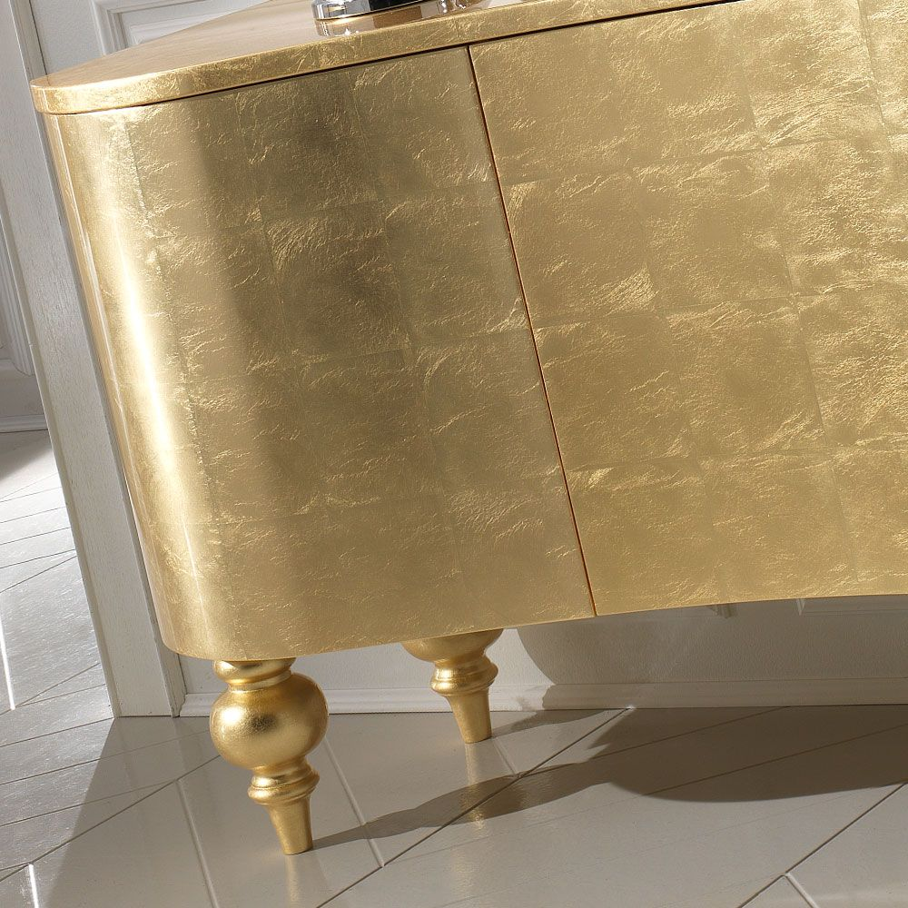 15 High End Contemporary Dining Room Designs: High End Italian Designer Gold Leaf Buffet