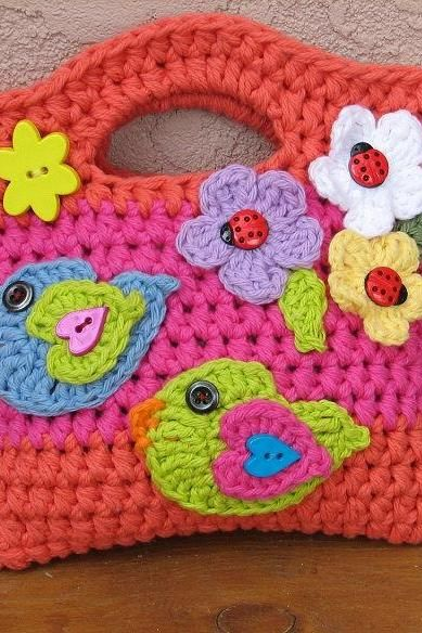 Girls Bag / Purse with Birds and Flowers , Crochet Pattern PDF,Easy ...
