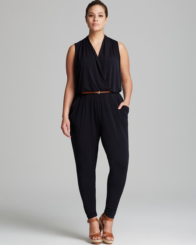 9db3a68051f MICHAEL Michael Kors Plus Sleeveless Belted Jumpsuit ...