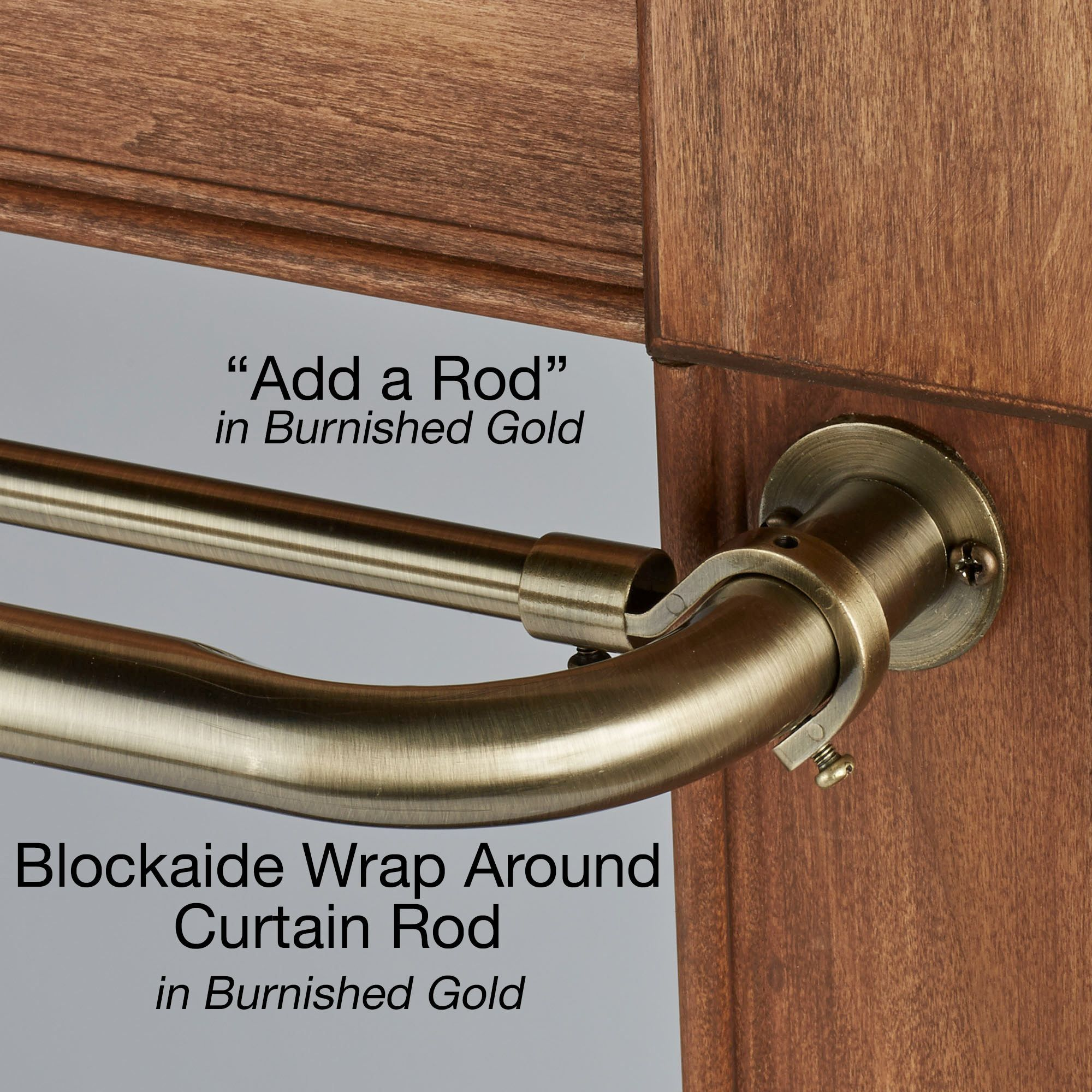 Blockaide Add A Rod 30 To 72 Wrap Around Curtain Rod Double Rod Curtains Curtain Rods