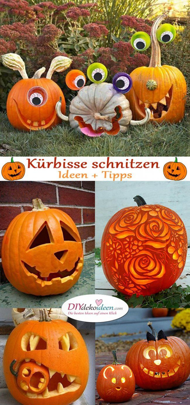 Anleitungen zum Kürbis schnitzen – Tolle DIY Ideen und Tipps #halloweencraftsforkids