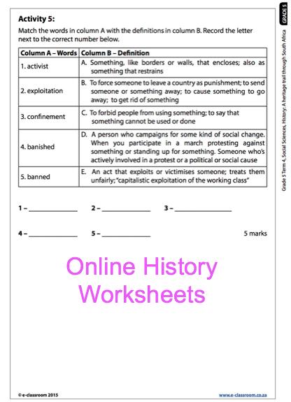 Grade 5 Online History Worksheet | School Worksheets | Pinterest ...